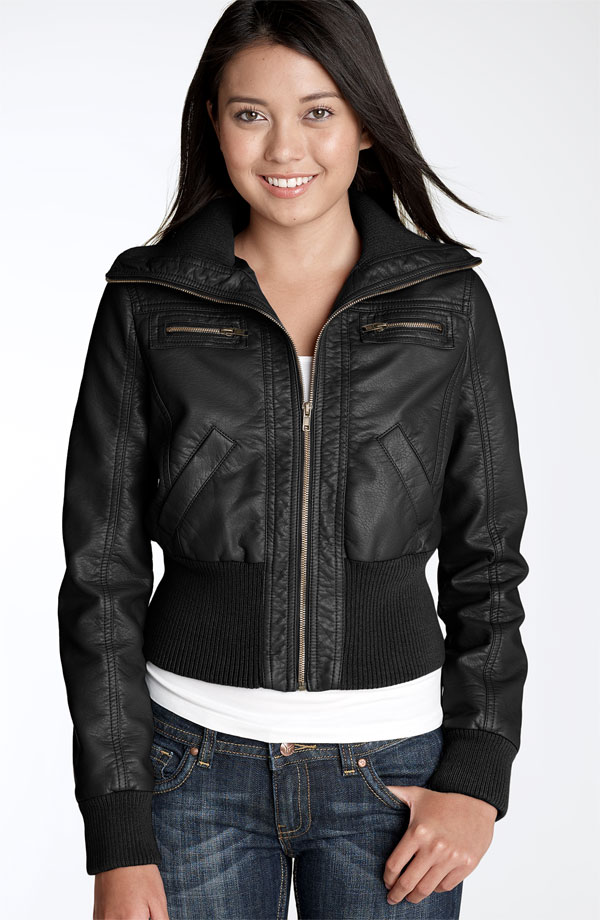 Girls Faux Leather Bomber Jacket - Coat Nj
