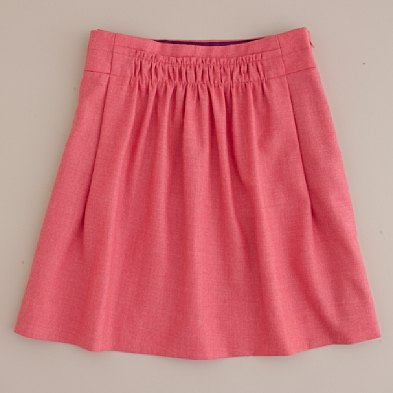 shirred wool skirt